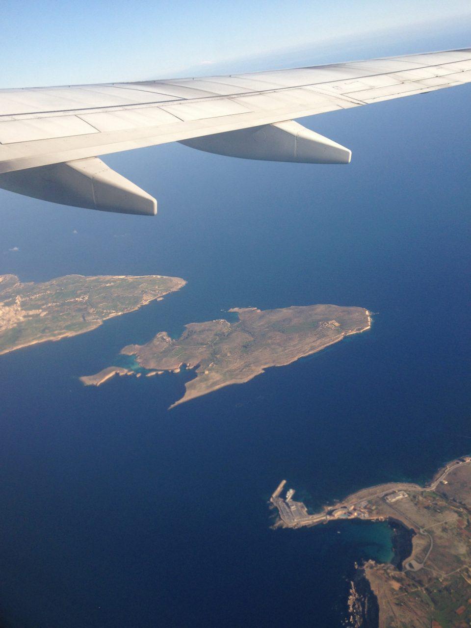 Вид с самолета на Мальту