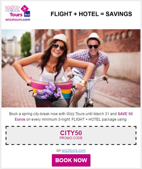 Пример промокода Wizzair на пакет перелет+отель