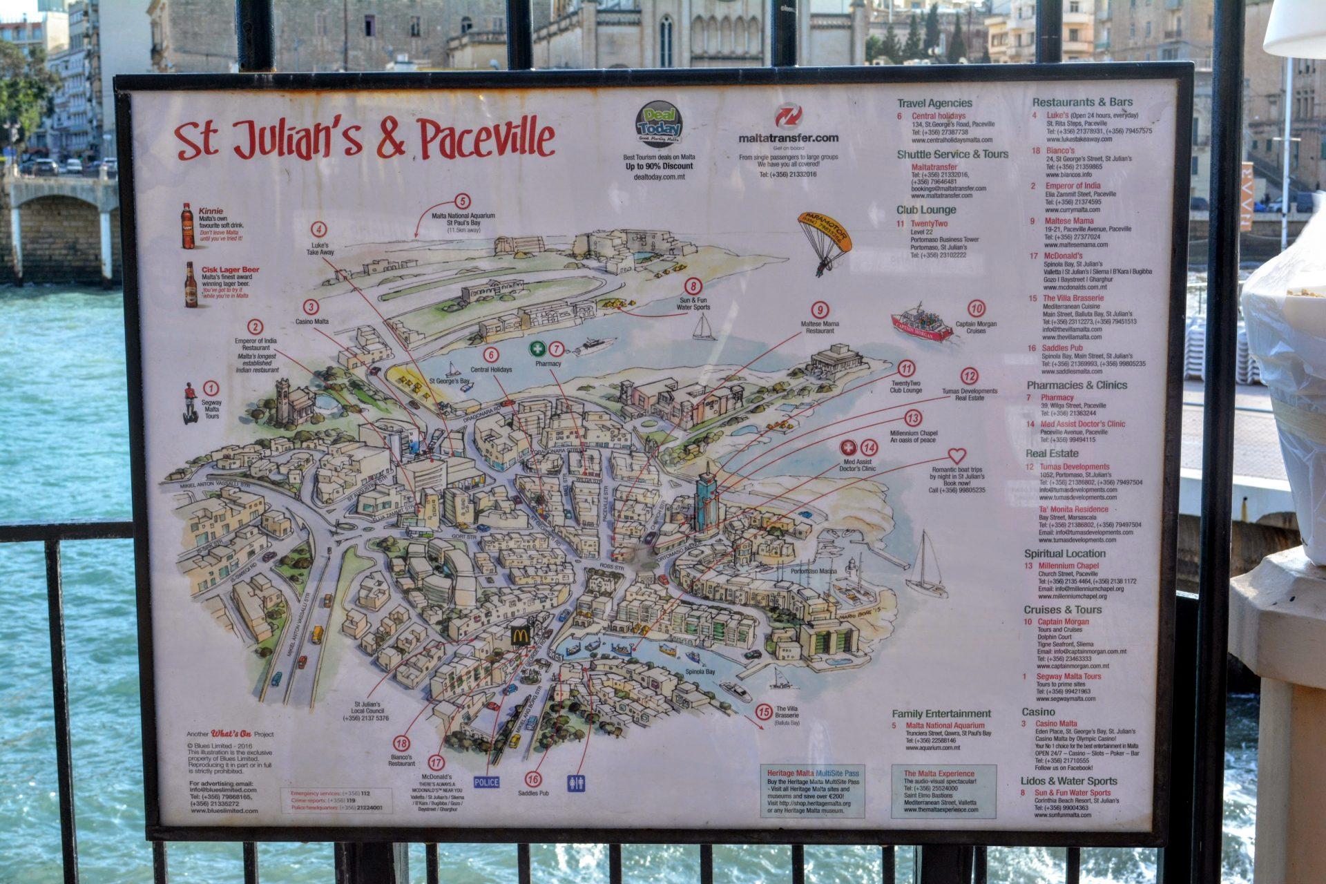 карта Сент-Джулианса и района Пачевиль